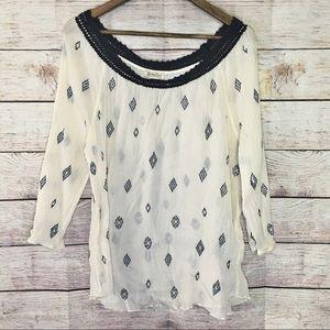 Lucky Brand Boho Long Sleeve Top Crochet XL
